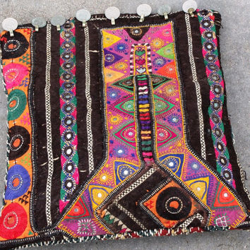 Banjara Bag Bohemian Style Vintage textile clutch Mirrored Tasselled Bag Purple Festival Clutch