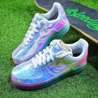 PEAPNW6 Nike Air Force 1 Low New York City NYC Ice Blue Sliver Iridescent Sport Shoes 779456-991 Sneaker