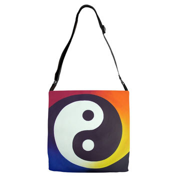 Balance - Adjustable Strap All Over Tote of Rainbow Yin Yang Acrylic Paint Fine Art