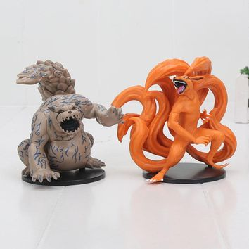 Naruto Sasauke ninja 2pcs/set Anime  Figure Kyuubi Kurama Shuukaku PVC Action Figure Collectible Toy 11cm AT_81_8