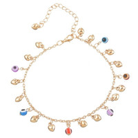 1PC Bohemian Evil Eye Love Heart Charms Anklet Foot Anklet Summer Jewellery (Color: Gold) = 1928671108