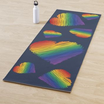 Rainbow scribble hearts yoga mat