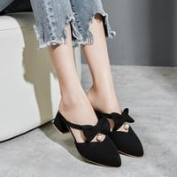 YMECHIC 2018 Fashion Lolita Butterfly-knot Mary Jane High Heels Shoes Black Pink Big Size Pointed Toe Lady Party Mules Pumps