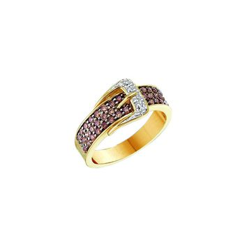 14kt Yellow Gold Womens Round Cognac-brown Colored Diamond Belt Buckle Band Ring 1/2 Cttw