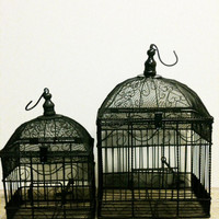 Vintage Bird Cage,Wedding Decor,Distressed Decor,Boho, Rustic,French Home Decor,Organizer,Storage,Shabby Chic