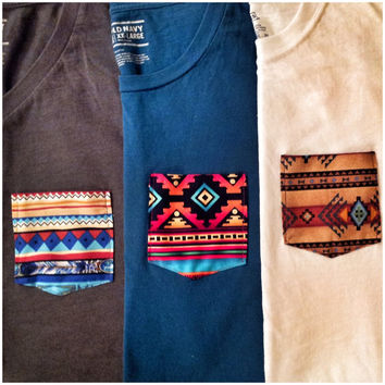 Customized Tribal Pocket T-Shirt Sizes: Small, Medium, Large, Extra Large