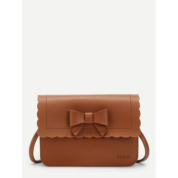 Scallop Trim PU Crossbody Bag With Bow