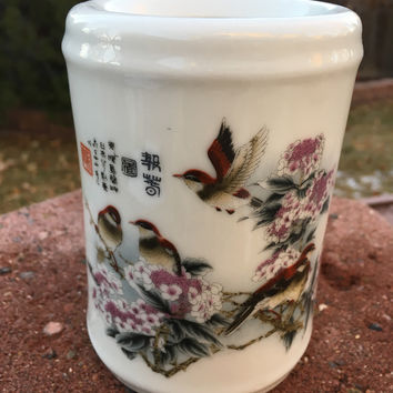 Five Birds with Peach Blossoms Executive Porcelain Pen Holder for Desk