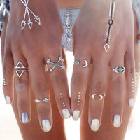 6PCS Vintage Turkish Beach Punk Moon Arrow Ring Set