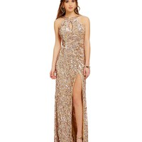 MAC by Mac Duggal Metallic Sequin High-Neckline Cowl Open Back Gown | Dillards