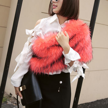 Orange Fluffy Faux Fur Shoulder Snood