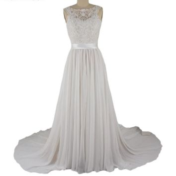 Lace Chiffon Wedding Dresses Bridal Gown with Belt
