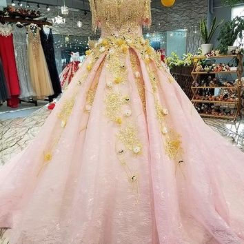 LS34479 pink sexy off shoulder boat neck evening dress yellow flowers beads lace up back beautiful party dress quick shipping