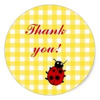 Ladybug on Yellow Gingham Cute Thank you Classic Round Sticker