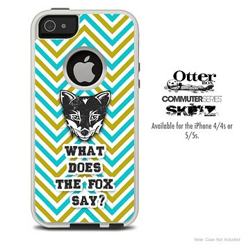 What Does The Fox Say Green & Gold Chevron Skin For The iPhone 4-4s or 5-5s Otterbox Commuter Case