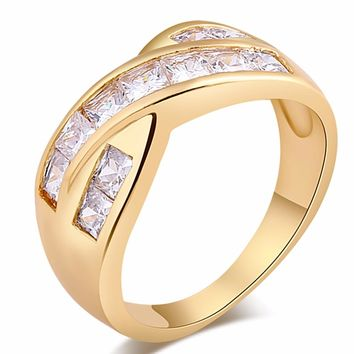 2017 High Quality Zircon Gold Color Jewelry Rings for Lady Women Cross Connection Design Cubic White Crystal  Wedding Rings