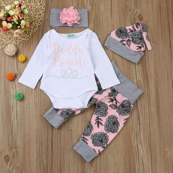 "3 Pc Baby Girl's ""Daddy's Princess"" Long Sleeve Onesuit with Floral Pants, Hat and Flower Headband"