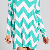 Long Sleeve Chevron Shift Dress - Jade