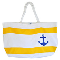 Anchor Ovenighter Tote, White/Yellow, Totes