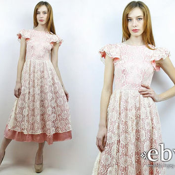 Lace Dress Wedding Dress Bridal Dress Pink Dress Lace Midi Dress Pink Prom Dress Vintage 70s 80s Pink Lace Party Dress XS
