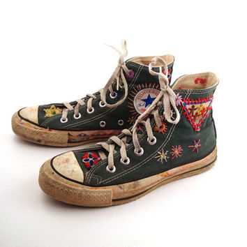 Converse Shoes Sneakers 70s Vintage 1970s Lace Up High Hi top Patched Size 4 1/2