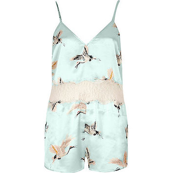 Mint green bird print lace insert playsuit