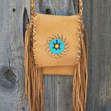 Fringed  leather purse  Beaded turtle totem Crossbody smartphone case Beaded leather handbag