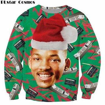 PLstar Cosmos 3D Fashion Fresh Prince Christmas Crewneck Sweatshirt Will Smith with Christmas hat Sweats Pullover Tops Women/Men