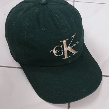 9ddb425cdf9 Rare 90s Calvin Klein CKJ Embroided Logo Dark Green Colour Snapback Trucker  Caps One Size Fits