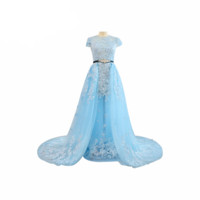 Luxurious O-neck Illusion Appliques Long Train Floor Length Tulle Party Evening Gown