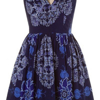 Navy Stylized Floral Print Fit N Flare Sundress