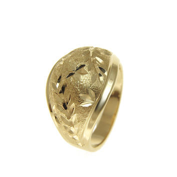 SOLID 14K YELLOW GOLD DIAMOND CUT HAWAIIAN MAILE LEAF LEAVES RING 13.80MM