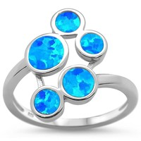 Blue Fire Opal Paw Design Ring