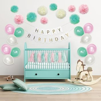 Birthday Decor Set Party Wedding Paper Flower Ball Tassel Foil Balloons Happy Birthday Banner Hanging Balloons Audlt Party Favor