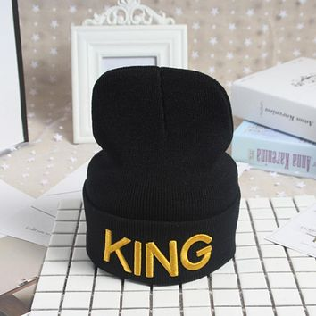 NEW 2017 King Queen Beanie Winter Hats Cap Men Women Hat Knitted Hip Hop Hat Couple Warm Winter Cap