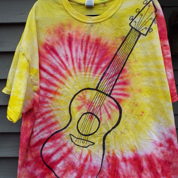 3XL Guitar Shirt, 3X Tie Dye Shirt w Acoustic Guitar, Plus Size Guitar T-Shirt, Plus Size Tie Dye, Hippie, Musician, Guitarist Music Teacher