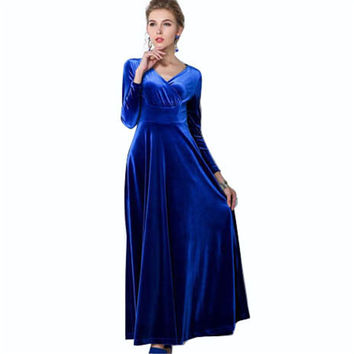 Elegant Autumn Winter Overlapped CF Gathering  Wedding Evening Party Prom Long Dress Maxi Swing Wiggle A Line Dress Y730