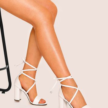 Criss Cross Ankle Strap Chunky Heels
