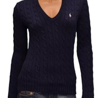 Amazon.com: Polo Ralph Lauren Women's V-Neck Cable Knit Sweater: Clothing