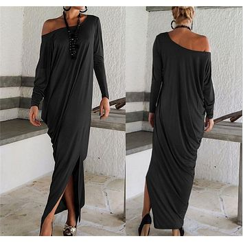 "Long Sleeve Off-Shoulder ""Kelly"" Maxi Dress"