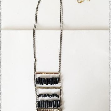 Margine Black + Gold Ladder Necklace