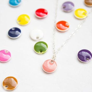 CONFETTI DOT // Small Dot Necklace - a tiny dot pendant on a silver or gold chain