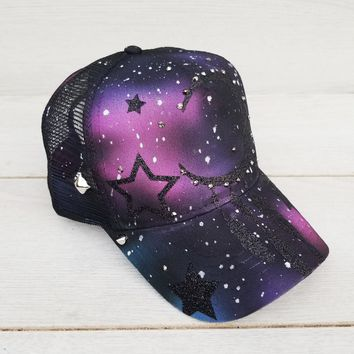 Moon & Stars Space Galaxy Airbrushed Snapback Hat