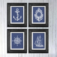 Nautical art gift set Navy blue and white Boat anchor Vintage ship Compass sailor clock Boys room Beach house Nautical nursery 8x10 print