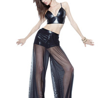 Black Leatherette Bralette Top with Palazzo Pants