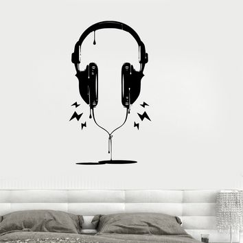 Vinyl Decal Headphones Music Pop Rock Night Club Teen Kids Room Stickers Unique Gift (ig2642)