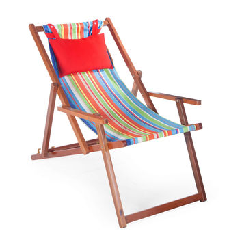 Beach Chair Lounger with Hardwood Frame & Cabana Stripe Fabric