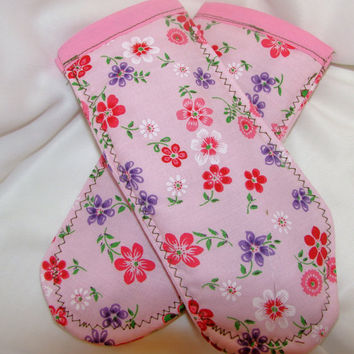Pot Holder Handles Pink and Purple Flowers by bagsbyhags45 on Etsy