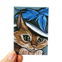 ACEO Original Art Card, Cat Portrait, Miniature Painting, Merry Widow Hat, Chinese Mountain Cat
