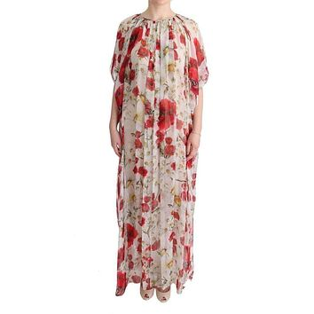 Multicolor Silk Floral Tunic Cape Kaftan Dress